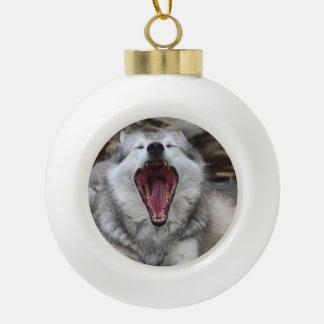wolf ceramic ball christmas ornament