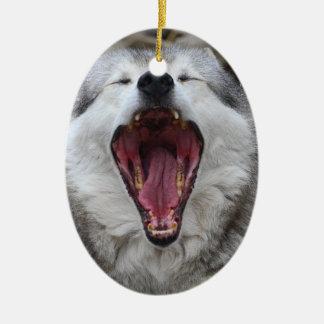 wolf ceramic ornament