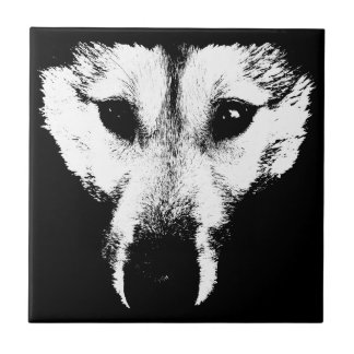 Wolf Ceramic Tile Wolf Pup Sled Dog Decor