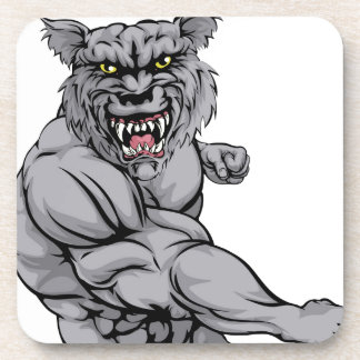 Wolf character punching coasters
