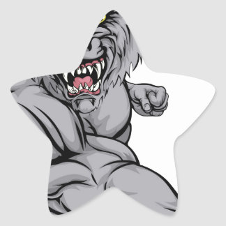 Wolf character punching star sticker