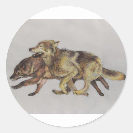 Wolf Chase Classic Round Sticker