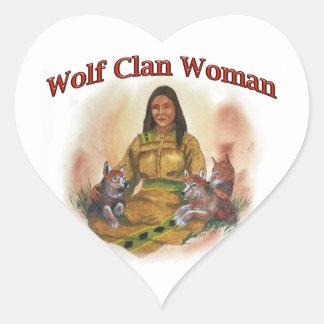 Wolf Clan Woman Heart Sticker