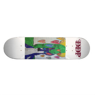 Wolf colorful and  pen art skateboard