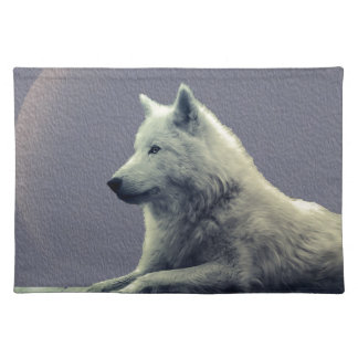 Wolf contemplation cloth placemat