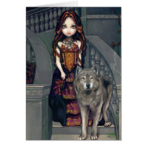 art, fantasy, wolf, wolves, dog, dogs, wolfdog, wolfdogs, werewolves, werewolf, vampire, vampires, countess, princess, stair, stairs, castle, mansion, manor, staircase, stairway, corset, dress, animal, pet, eye, eyes, big eye, big eyed, jasmine, becket-griffith, becket, griffith, jasmine becket-griffith, jasmin, strangeling, artist, goth, gothic, Card with custom graphic design