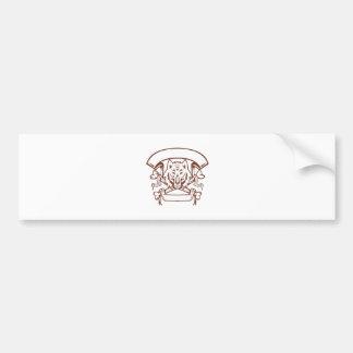 Wolf Cross Bones Banner Retro Bumper Sticker
