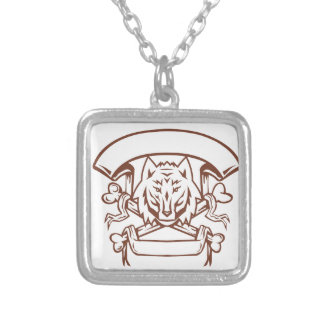 Wolf Cross Bones Banner Retro Silver Plated Necklace