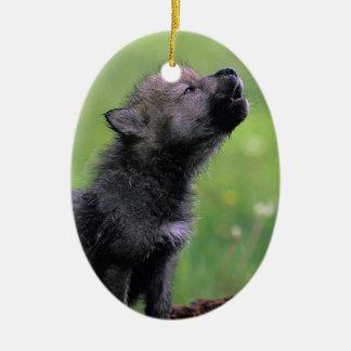 Wolf Cub Howling Ceramic Ornament