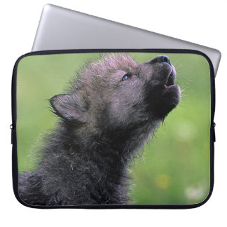 Wolf Cub Howling Laptop Computer Sleeves