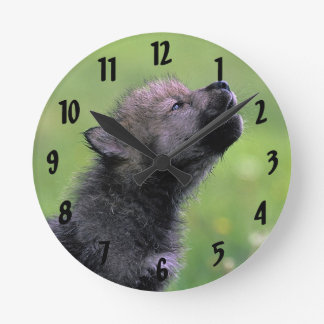 Wolf Cub Howling Round Clock