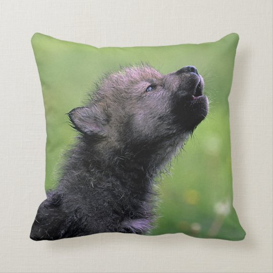 Wolf Cub Howling Throw Pillow