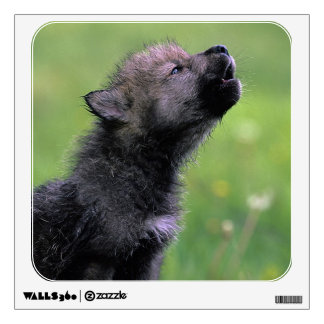 Wolf Cub Howling Wall Sticker