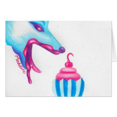 Wolf Cupcake Love Cards