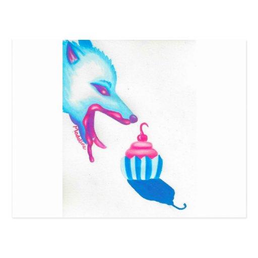 Wolf Cupcake Love Postcards