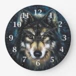 Wolf Decorative Wall Clock at Zazzle