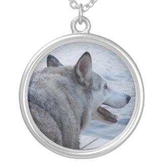 Wolf Dog at Cayuga Lake NY Round Pendant Necklace
