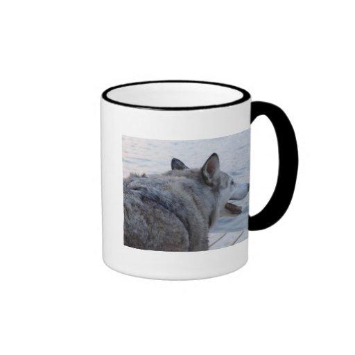 Wolf Dog at Cayuga Lake NY Ringer Coffee Mug