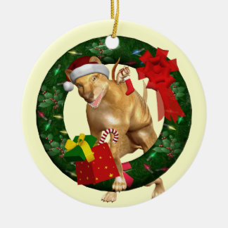 Wolf Dog Santa Wreath Personalized Ornament