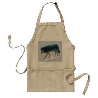 Wolf double exposure - wolf forest - wolf usa adult apron