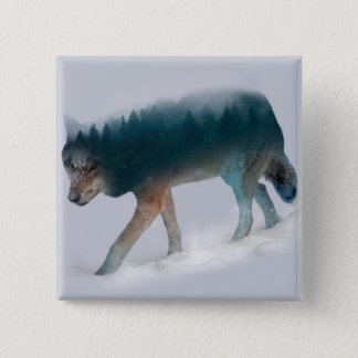 Wolf double exposure - wolf forest - wolf usa button