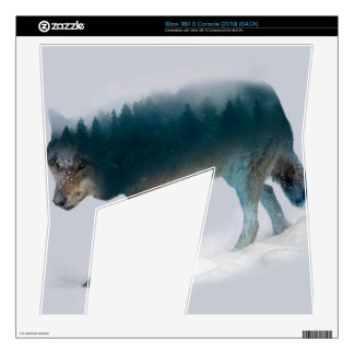 Wolf double exposure - wolf forest - wolf usa decals for the xbox 360 s