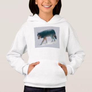 Wolf double exposure - wolf forest - wolf usa hoodie