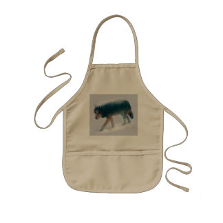 Wolf double exposure - wolf forest - wolf usa kids' apron