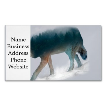 USA Themed Wolf double exposure - wolf forest - wolf usa magnetic business card