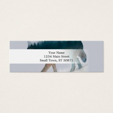 USA Themed Wolf double exposure - wolf forest - wolf usa mini business card
