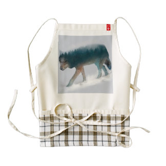 Wolf double exposure - wolf forest - wolf usa zazzle HEART apron