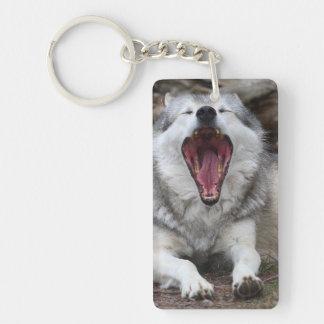 wolf Double-Sided rectangular acrylic keychain