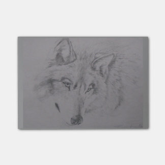 Wolf drawing by Lucinda Knowlton Post-it Notes