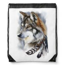 Wolf Drawstring Backpack