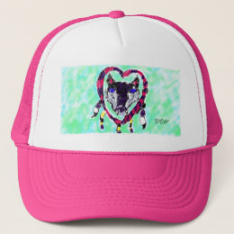 Wolf dream catcher trucker hat
