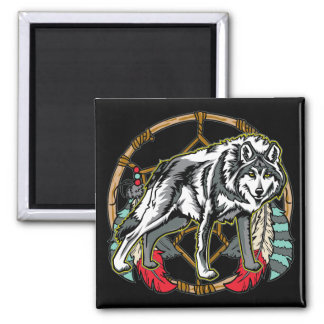 Wolf Dreamcatcher 2 Inch Square Magnet