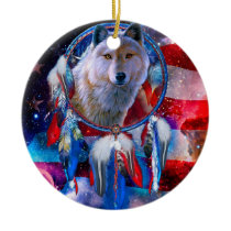 Wolf dreamcatcher - american flag - white wolf ceramic ornament