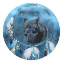 Wolf dreamcatcher - black wolf - wolf art classic round sticker