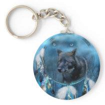 Wolf dreamcatcher - black wolf - wolf art keychain