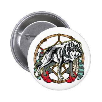 Wolf Dreamcatcher Button