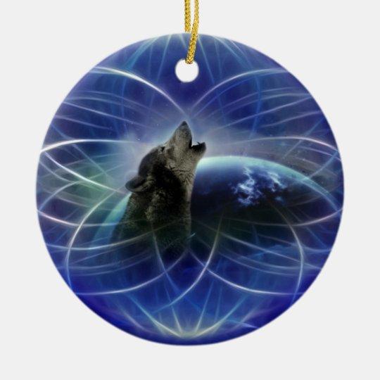 Wolf dreamcatcher christmas tree ceramic ornament