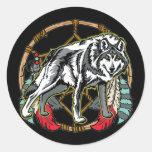 Wolf Dreamcatcher Classic Round Sticker