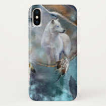Wolf dreamcatcher - white wolf  - wolf art iPhone x case