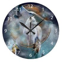 Wolf dreamcatcher - white wolf  - wolf art large clock