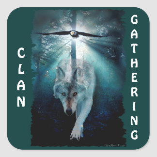 WOLF & EAGLE Clan Gathering First Nations Wildlife Square Sticker