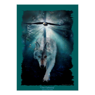 Wolf & Eagle Clan Gathering Wildlife Art Poster