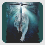 Wolf & Eagle Clans Wildlife Art Square Sticker