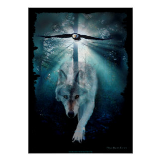 Wolf, Eagle & Forest Wildlife Art Poster