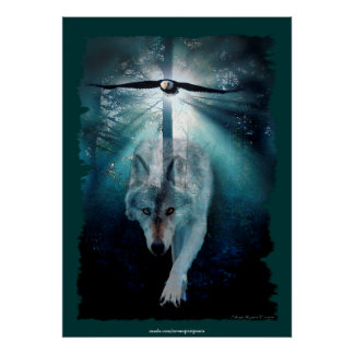 Wolf & Eagle Spiritual Wildlife Art Poster