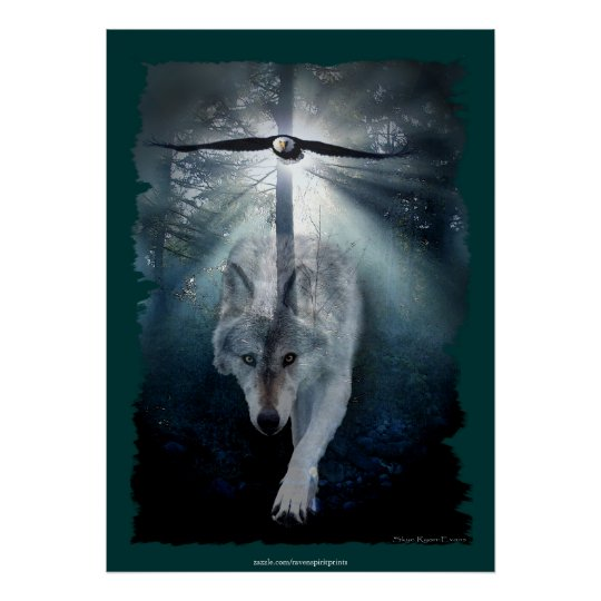 Wolf & Eagle Spiritual Wildlife Art Poster